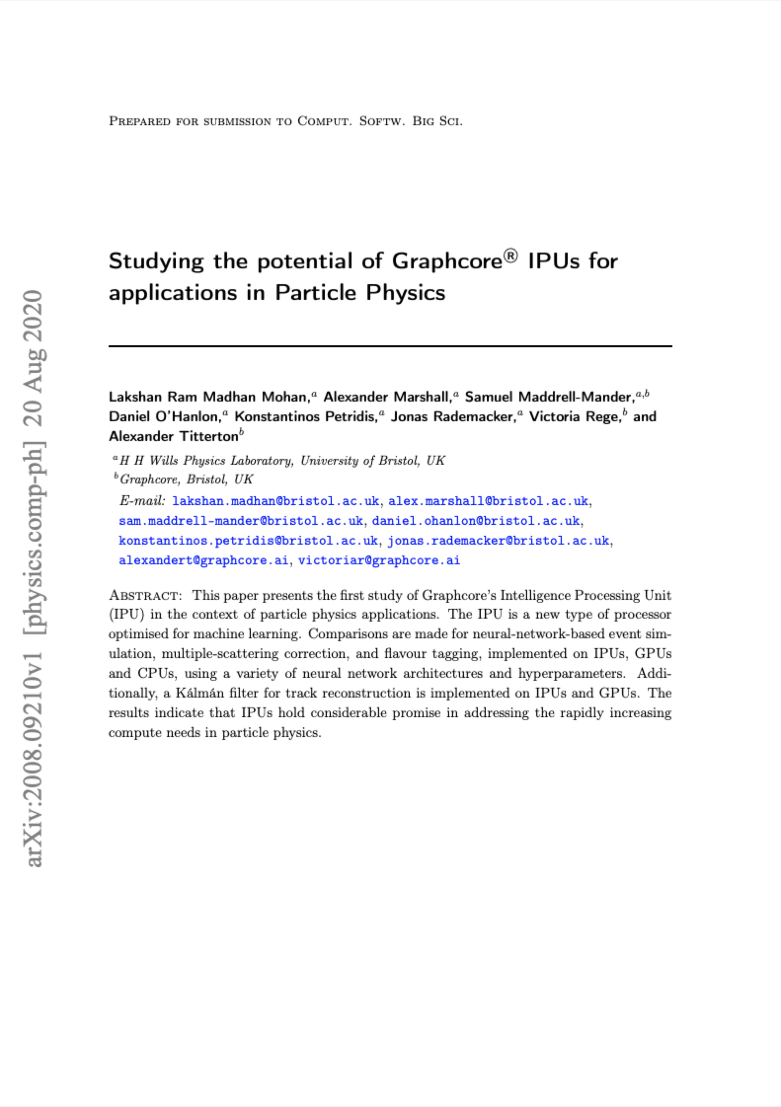 University of Bristol: Studying the potential of Graphcore IPUs for applications in Particle Physics