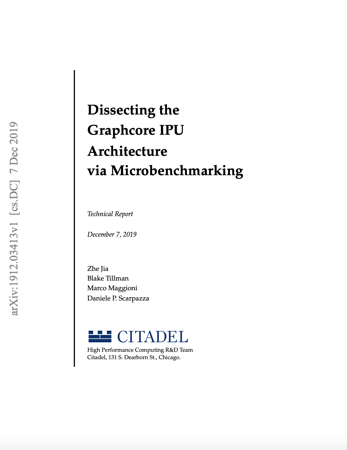 Citadel: Dissecting the Graphcore IPU Architecture via Microbenchmarking