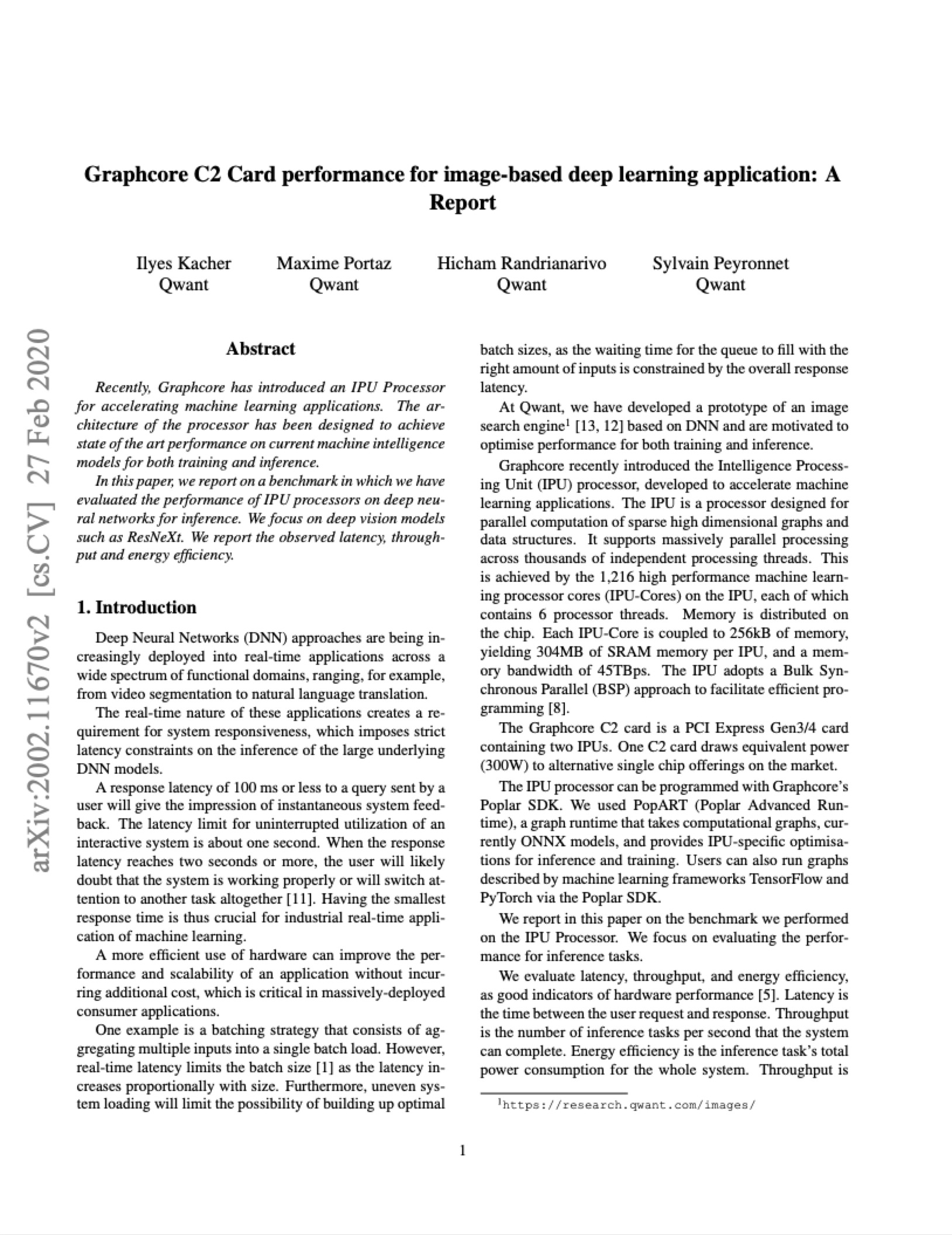 Qwant: Graphcore C2 Card performance for image-based deep learning application: A Report