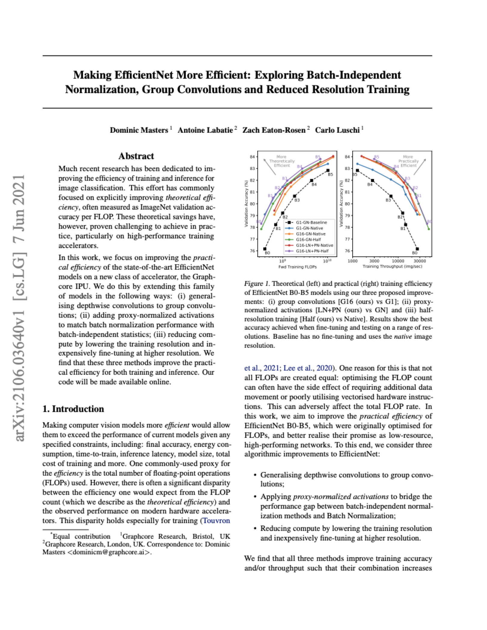 Graphcore Research: Making EfficientNet More Efficient: Exploring Batch-Independent Normalization, Group Convolutions and Reduced Resolution Training