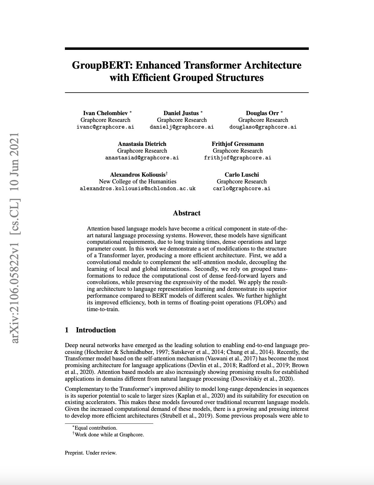 Graphcore Research: GroupBERT - Enhanced Transformer Architecture with Efficient Grouped Structures