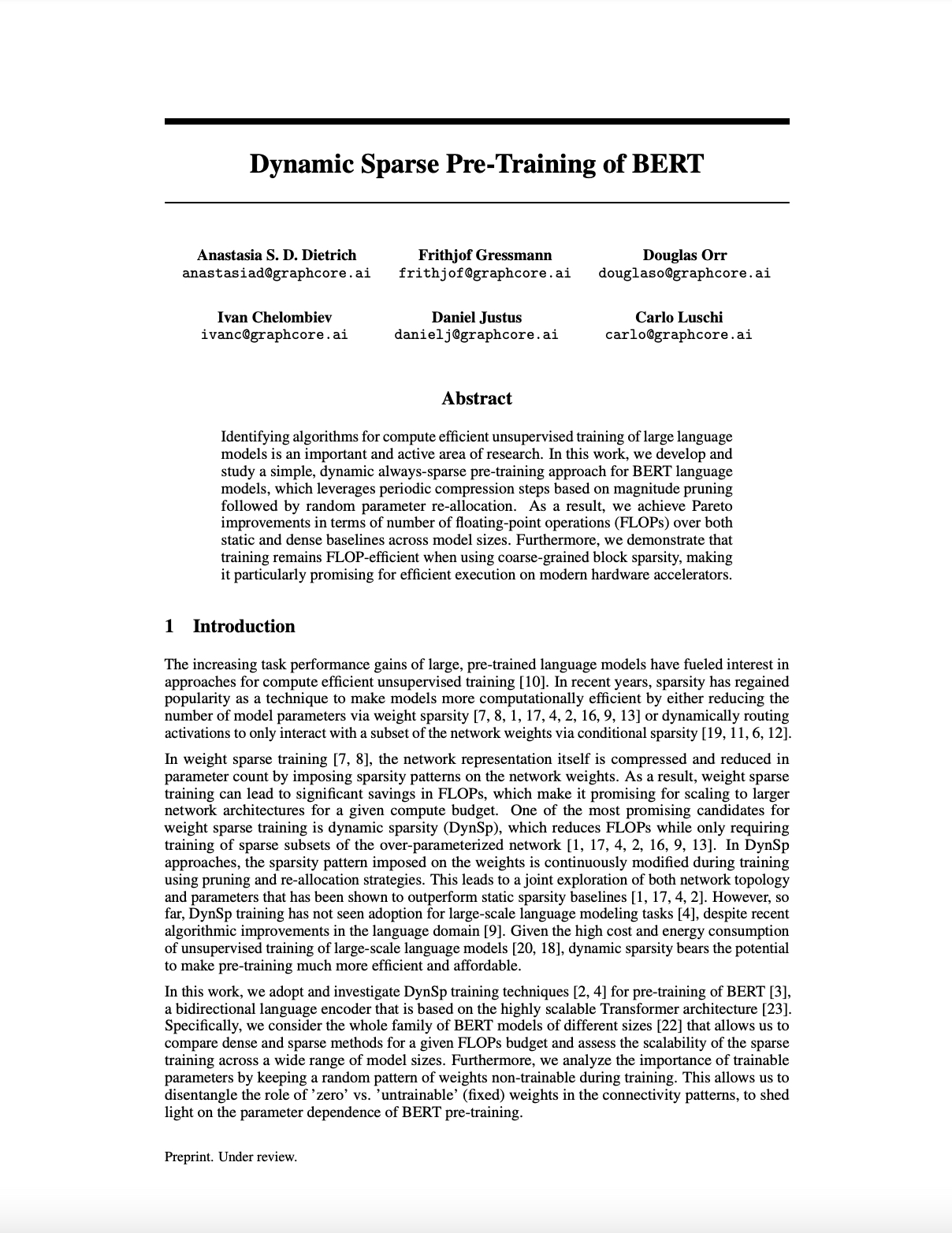 Graphcore Research: Dynamic Sparse Pre-Training of BERT
